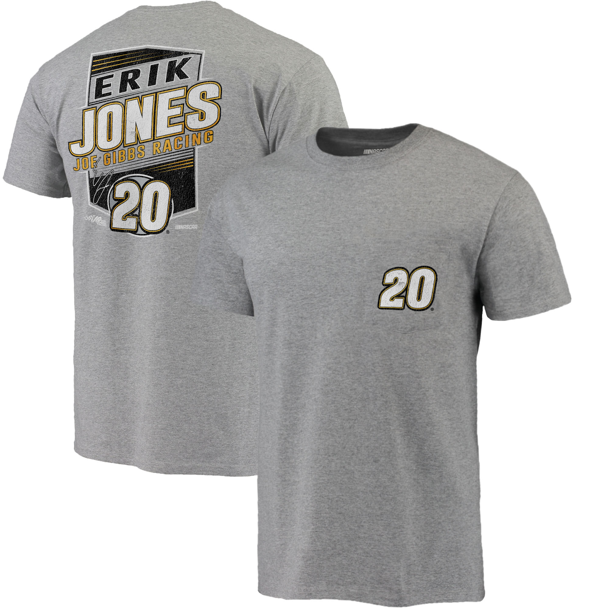 Erik Jones Fanatics Branded Pocket T-Shirt - Heather Gray