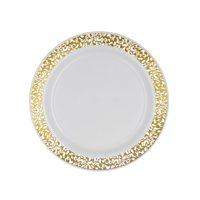 Party Essentials 70-Count Hard Plastic 6.25' Divine Dinnerware Disposable China Bread and Butter/Appetizer Plates, White with Gold Lace Rim
