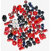 Glass Beads for Jewelry Making for Adults 60-80 Pieces Lampwork Murano Loose Beads for DIY and Fashion Designs – Wholesale Jewelry Craft Supplies (Red - 5 oz)