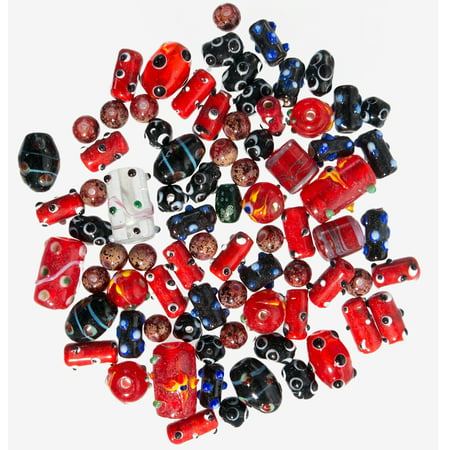 Glass Beads for Jewelry Making for Adults 60-80 Pieces Lampwork Murano Loose Beads for DIY and Fashion Designs – Wholesale Jewelry Craft Supplies (Red - 5 oz) ()