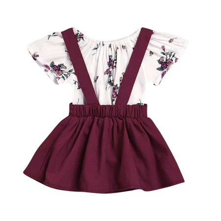 Party Girl Outfits (2PCS Stylish Baby Girl Clothes Set Flower Romper Suspender Skirt Party Wedding Outfits)