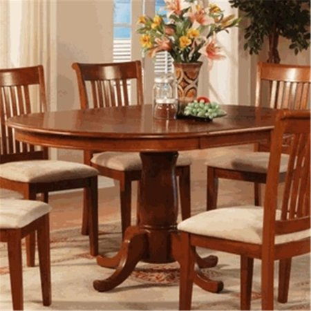 Leaf Oval Dining Table (East West PT-SBR-T Portland Single Pedestal Oval Dining table with 18 in. extension butterfly leaf in Saddle Brown Finish, Saddle Brown )