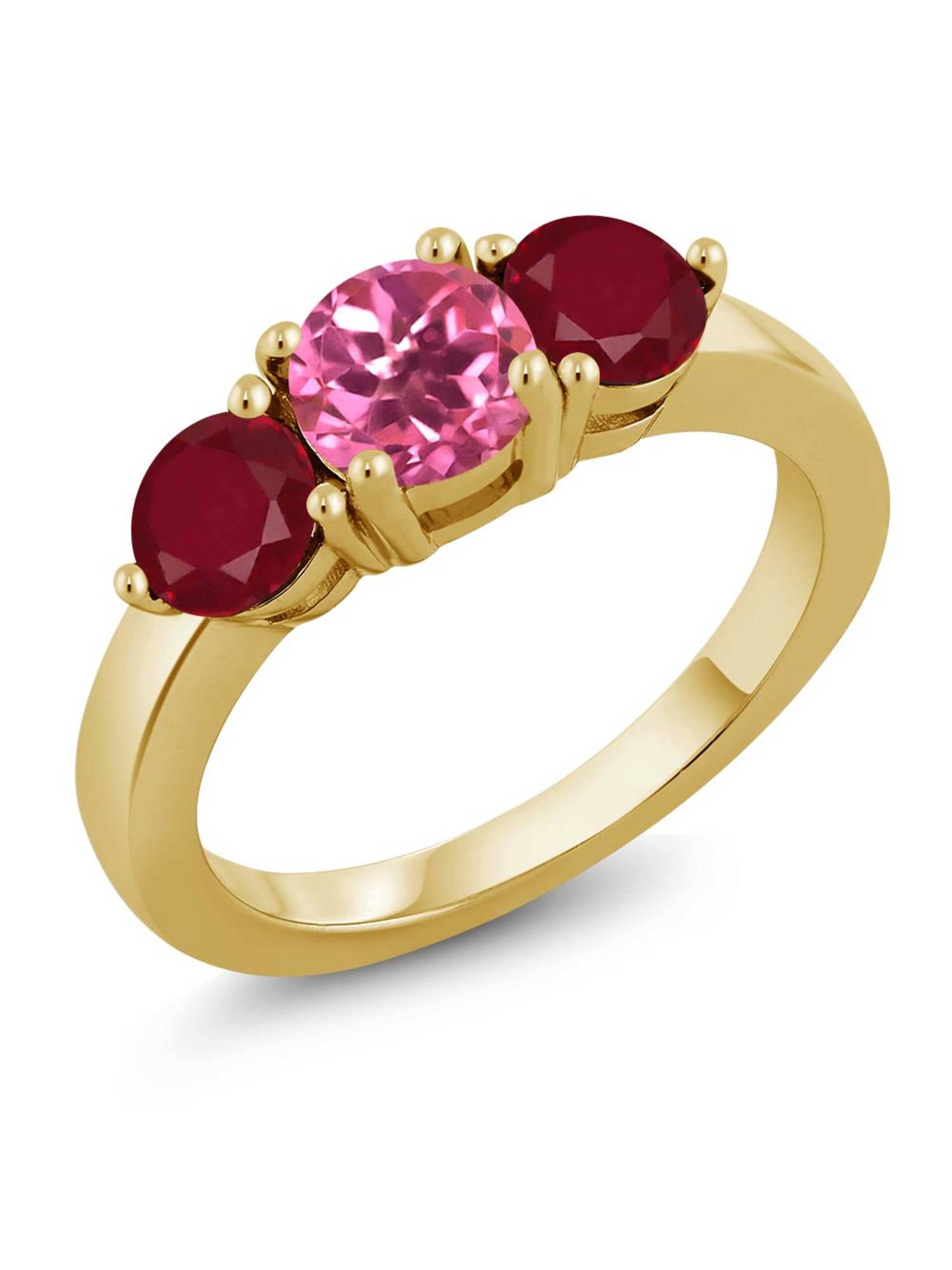 2.12 Ct Round Pink Mystic Topaz Red Ruby 18K Yellow Gold Plated Silver Ring by