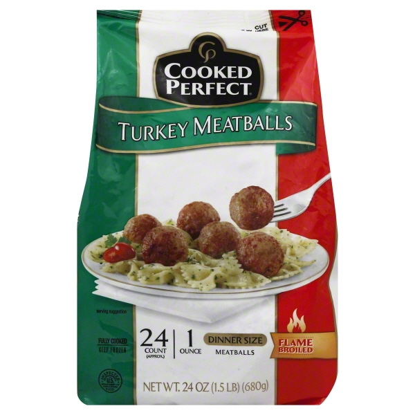Cooked Perfect® Turkey Meatballs 24 oz. Bag