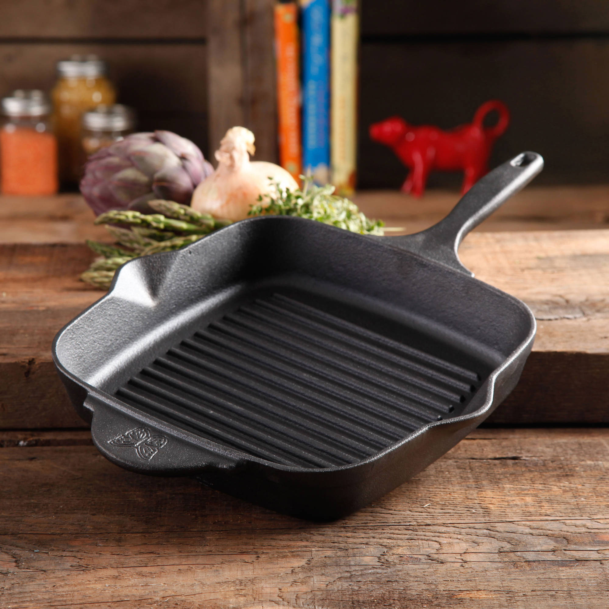 "The Pioneer Woman Timeless Cast Iron Square 10.25"" Pre-Seasoned Cast Iron Grill Pan"