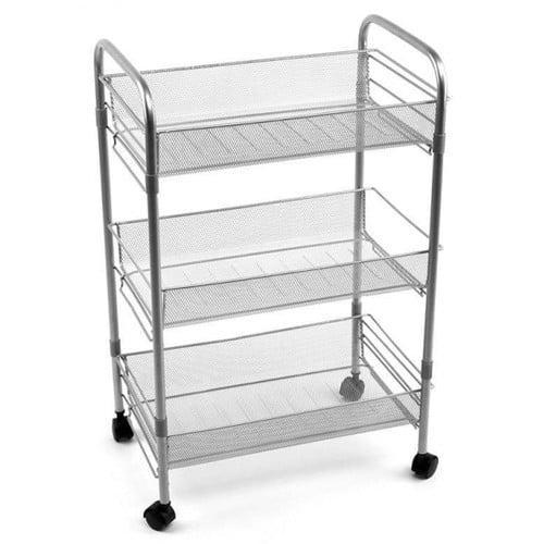3 Tier Metal Mesh Rolling Cart Walmart Com