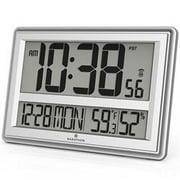 Marathon Elite Series Jumbo Atomic Wall Clock with 6 Time Zones (Silver)