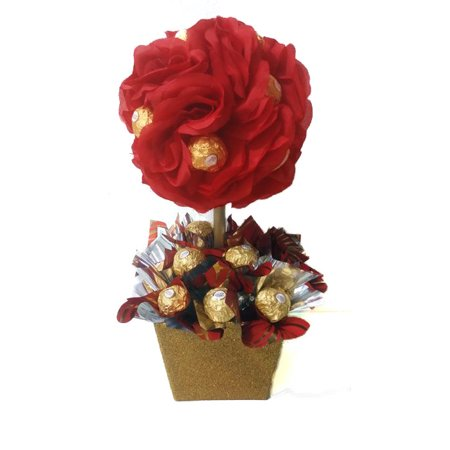Red Rose Ferrero Rocher Topiary Gift Basket