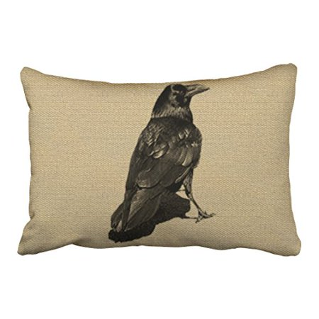 WinHome Vintage Abstract Crow Owl Pencil Drawing Simple Pattern Halloween Polyester 20 x 30 Inch Rectangle Throw Pillow Covers With Hidden Zipper Home Sofa Cushion Decorative Pillowcases - Simple Halloween Martini