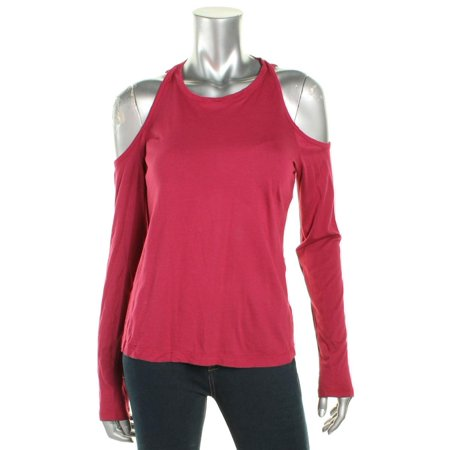 CHELSEA SKY Womens Maroon Cut Out Long Sleeve Jewel Neck Tunic Top  Size: