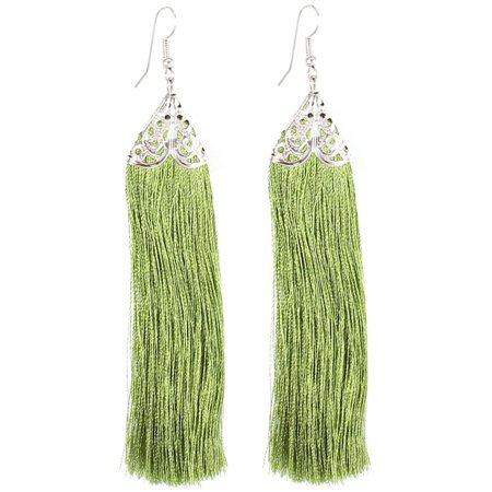Pair Green Tassel Fringed Fish Hook Style Eardrop Ear Ornament Earring for Women