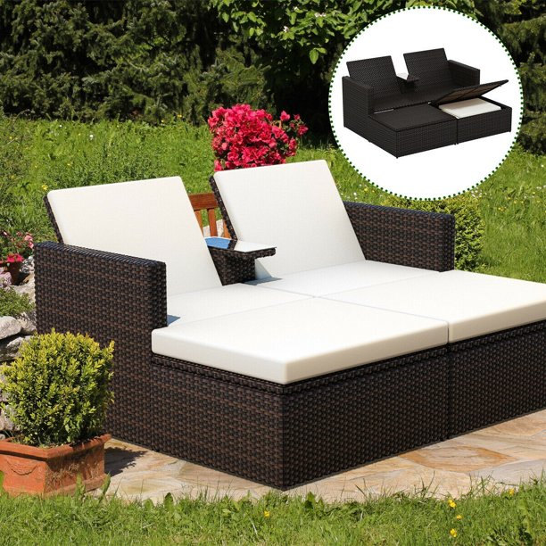 Gymax Outdoor 3 Piece Chaise Lounge Chair Set Rattan Wicker Patio