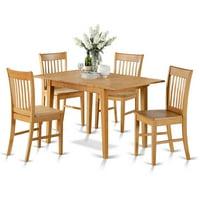 East West Furniture Norfolk 5 Piece Slat Back Dining Table Set