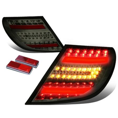 (For 08-11 Mercedes-Benz W204 C-Class AMG Black Housing Smoked Lens 3D LED Rear Tail Brake + Corner Signal Light 09 10)