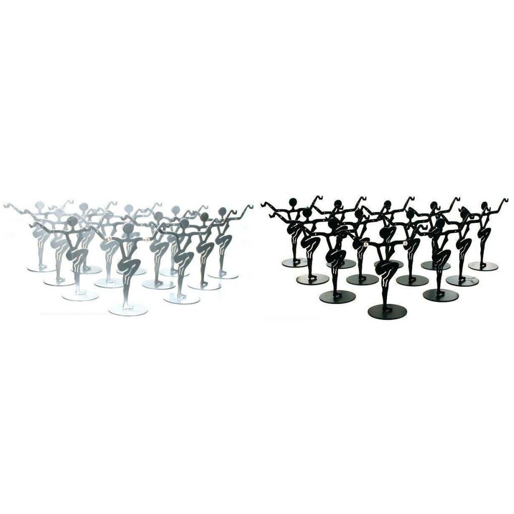 Black & Silver Metal Dancer Earring Stands Jewelry Showcase Displays Kit 24 Pcs by