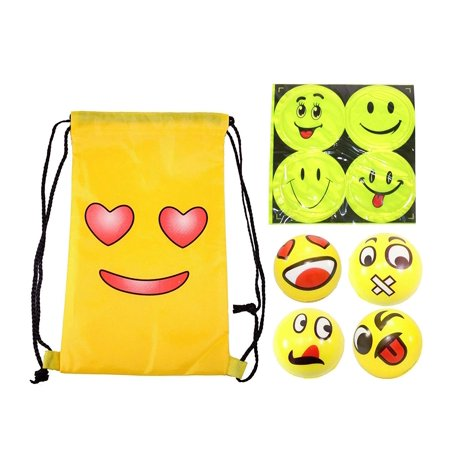 Emoji With Heart Eyes (Four Face Reflective Stickers & 4 Big Happy Emoji Face Squeeze Ball & 1 Smiling Face With Heart Eyes Waterproof Nylon Backpack Bag)