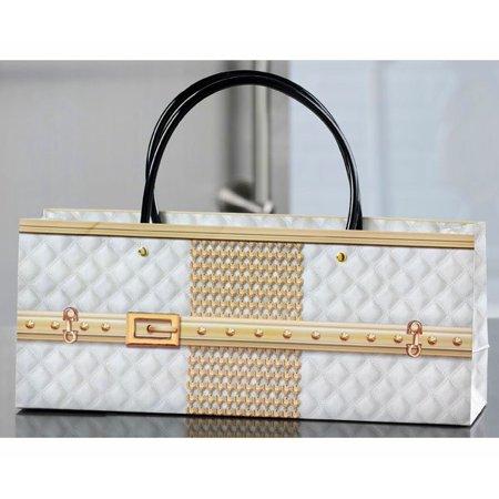 Giftcraft GIFT468044 Quilted Handbag Design Wine Bottle Gift Bag