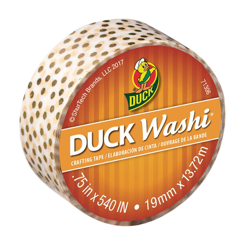"Duck Washi® Crafting Tape, 0.75"" x 15 yards, Metallic Gold Dot"