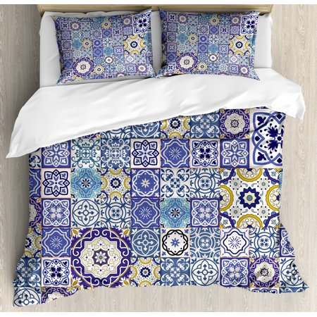 Blue Duvet Cover Set, Rich Pattern of Ancient Moroccan Tiles Patchwork Style Pattern Oriental Arabesque, Decorative Bedding Set with Pillow Shams, Multicolor, by - Oriental Bedding
