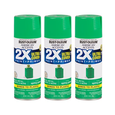 (3 Pack) Rust-Oleum American Accents Ultra Cover 2X Gloss Spring Green Spray Paint and Primer in 1, 12