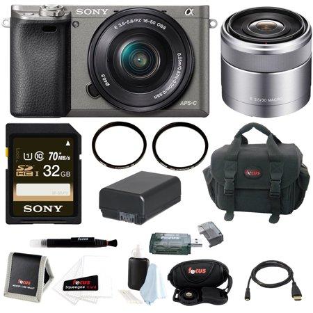 Sony Alpha A6000 Camera w/ 16-50mm & 30mm Lens Accessory Bundle (Graphite)