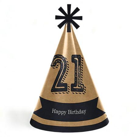 Finally 21 - 21st Birthday - Cone Happy Birthday Party Hats - Set of 8 (Adult Size) - Happy Birthday Adults