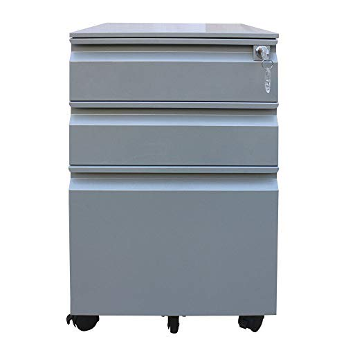 Mobile 3 Drawer File Cabinet With Lock, Metal Filling Cabinet for Office and Home (Sliver)