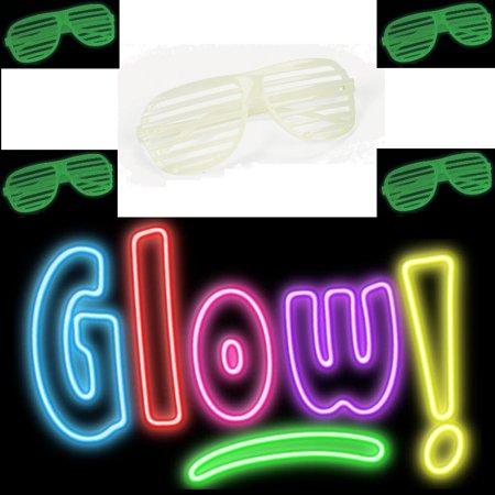 Glow In The Dark Sunglasses Bulk (Shutter Sunglasses Glow in Dark Shades Retro Vintage Glasses Club Party)