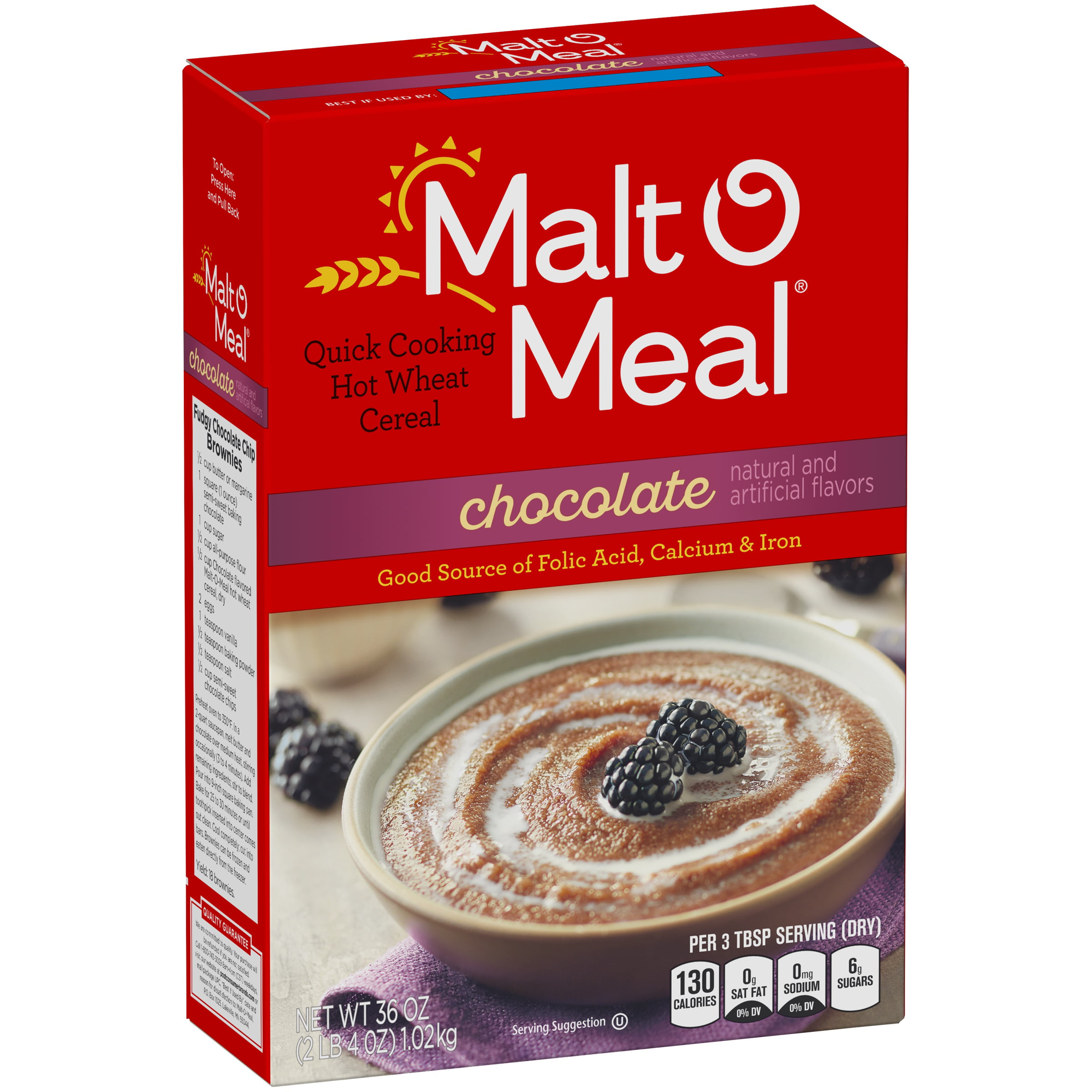 Malt-O-Meal Quick Cooking Wheat Hot Cereal, Chocolate, 36