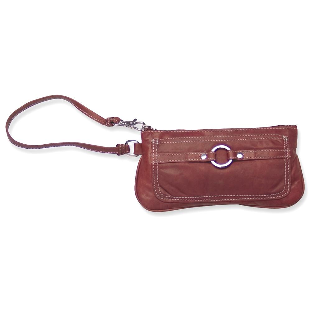 IceCarats Chestnut Leather Wristlet  Hbag Tote Wallet Tra...