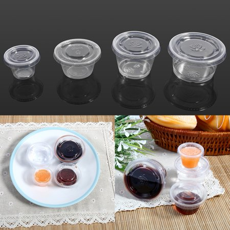 Yosoo 4 Sizes 50Pcs Disposable Plastic Clear Sauce Chutney Cups Boxes With Lid Food Takeaway Hot, Disposable Sauce Cup, Plastic Chutney Cup - image 7 de 7