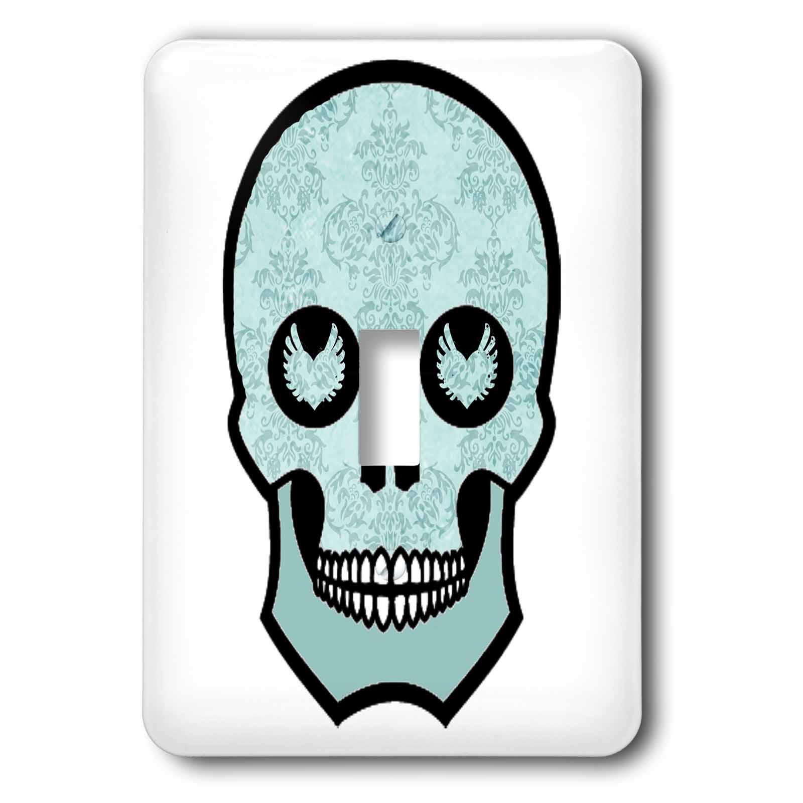 3dRose Light Blue Damask Skull, Single Toggle Switch