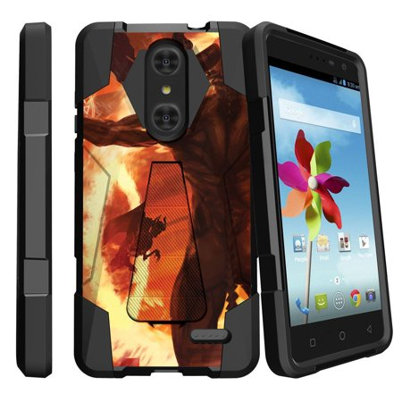 ZTE Grand X4 Z956 Shock Fusion Heavy Duty Dual Layer Kickstand Case -  Demons and Flames](Demon Teeth)