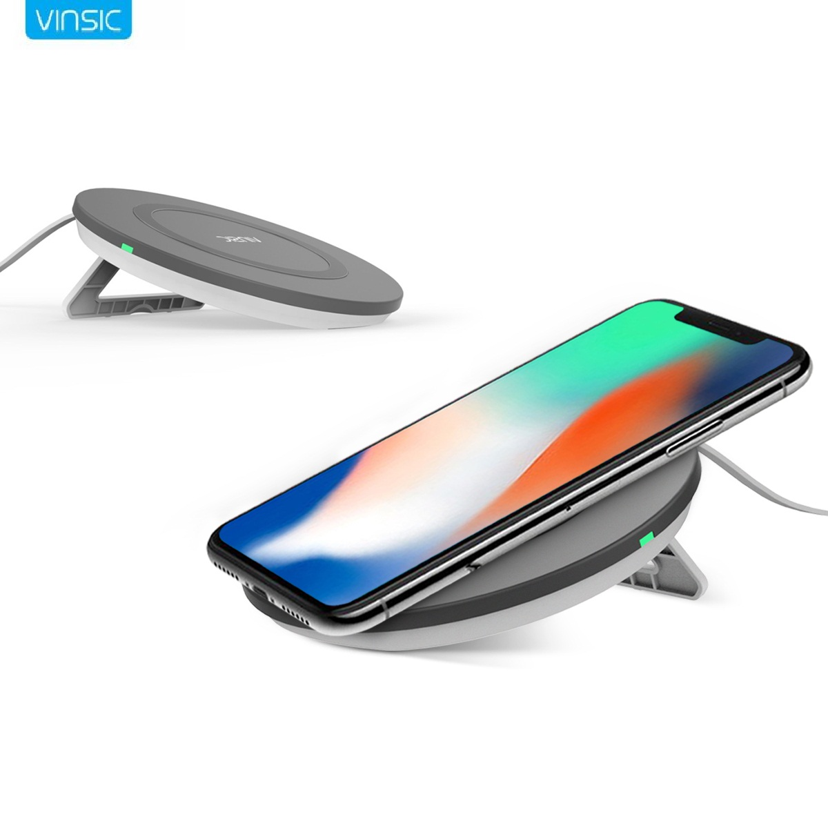 Newest Vinsic Qi Wireless Charger Pad Phone Stand Wireless Charger for SAMSUNG S8 S8+ S7 S7 Edge S6 S8 Edge Note 8 Lumia 950 Nexus 7 6
