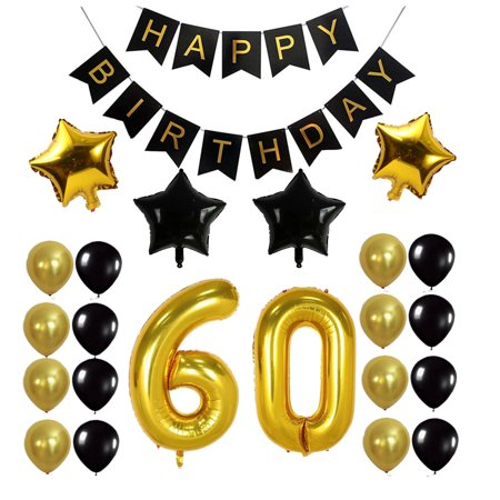 60th Birthday Party Decorations Glossy Foil Balloon