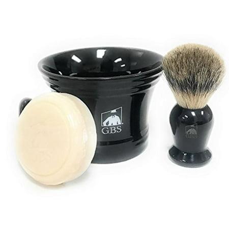 Men's Shaving Set - Black - 3 Piece set - Pure Badger Shaving Mug, Brush and 97% All Natural Ocean Driftwood Shave Soap (Badger Shaving Set)
