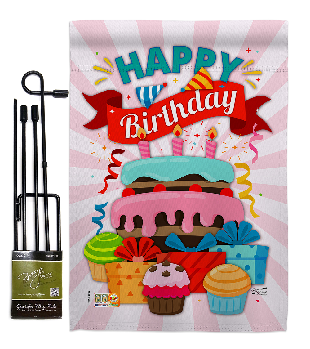 Happy Birthday Cake Special Occasion Party Celebration Impressions Decorative Vertical 13 X 18 5 Double Sided Garden Flag Set Metal Pole Hardware Walmart Com Walmart Com