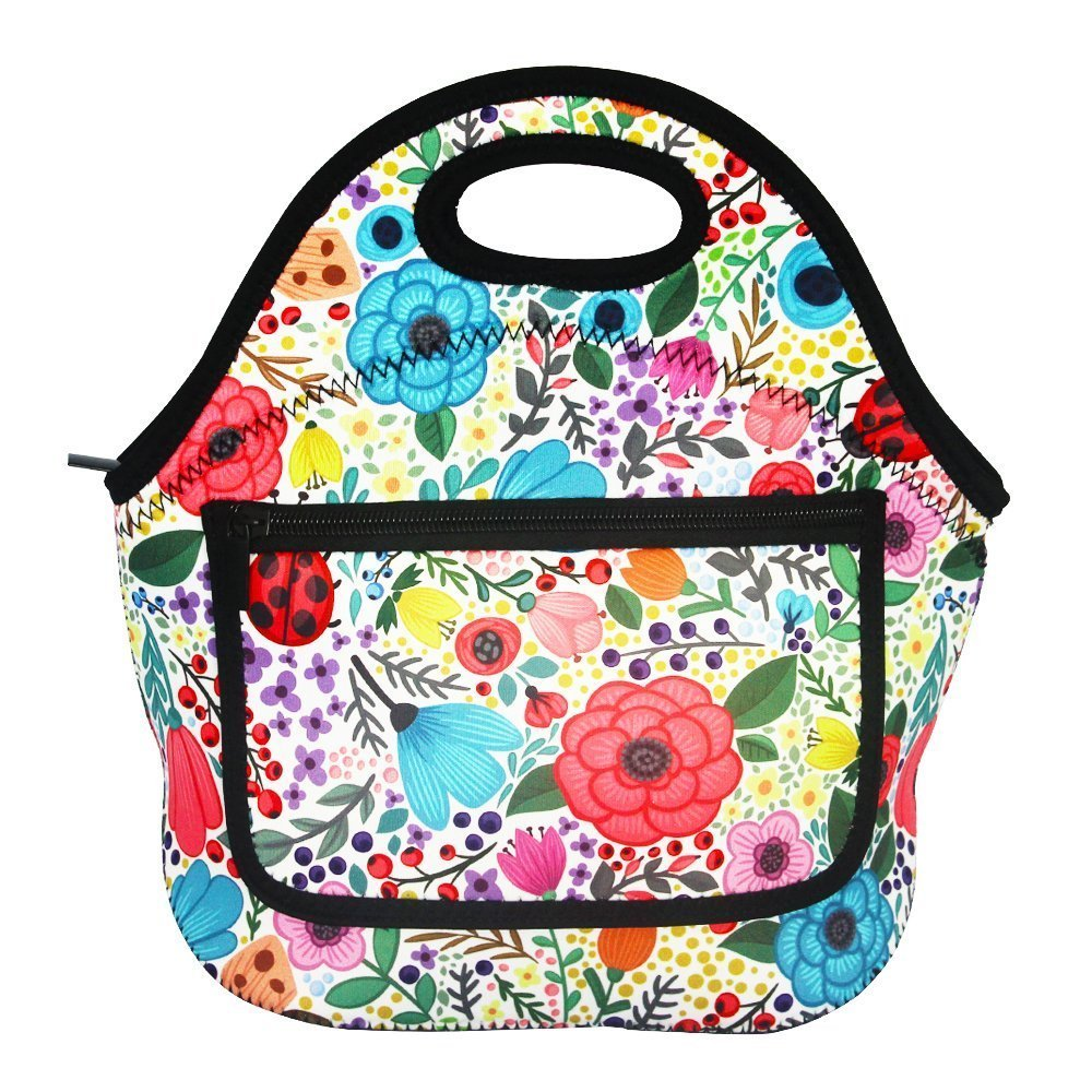 Wendana Floral Pattern Lunch Bags with Side Pocket Zipper Closure Waterproof Neoprene Reusable Insulated Lunch Boxes for Women Teen Girls Lunch Bag Box Tote for School Work Office Picnic Travel