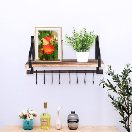 Siaonvr Wall Shelf For Storage Rustic Wood Kitchen Spice Rack With Towel Bar Wall Hooks ()