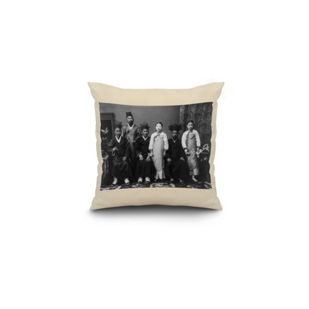 Korean Family Portrait Photograph 16x16 Spun Polyester Pillow White Bo