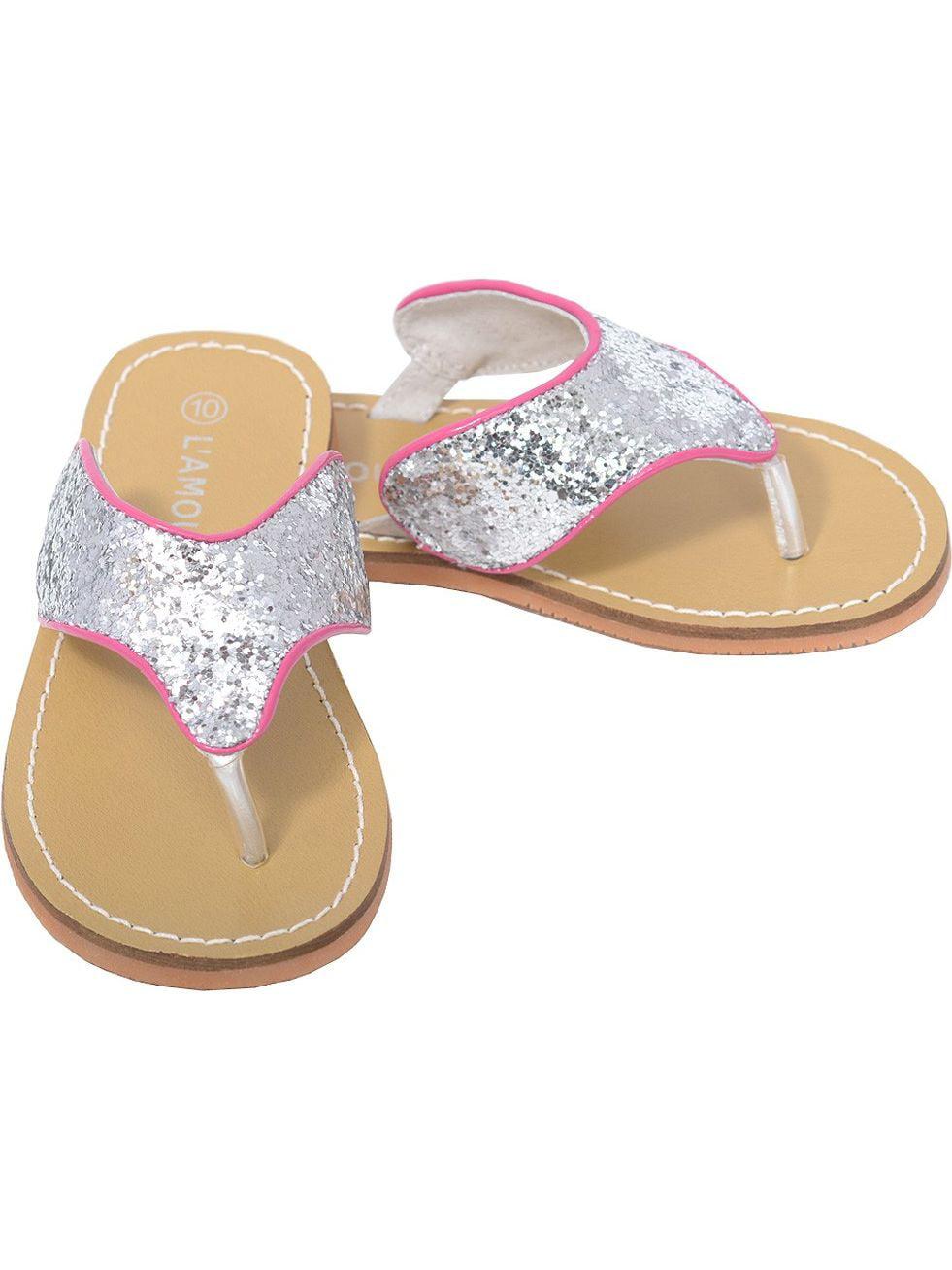 L'Amour Silver T Strap Flip Flop Summer Spring Sandal Girl 11-4