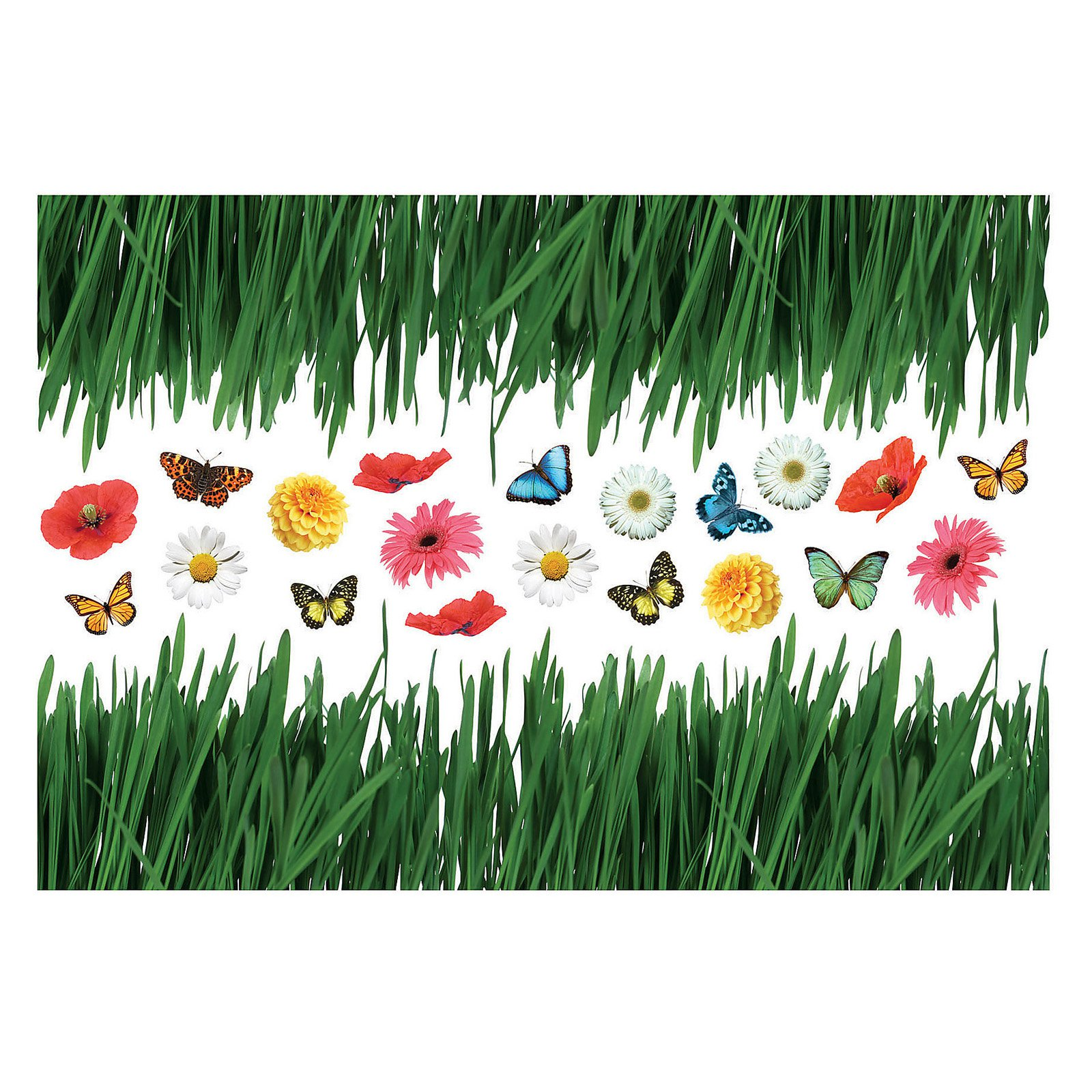 Home Decor Line Grass With Butterflies and Flowers Wall Decals