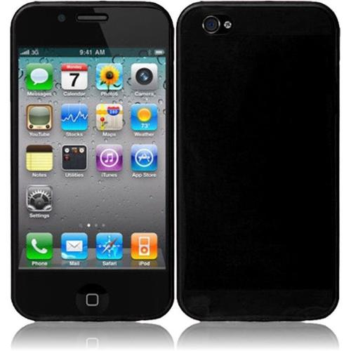 Insten For Apple iPhone 4 / 4SGS 4G CDMA GSM TPU Rubber Gel Cover Case Black