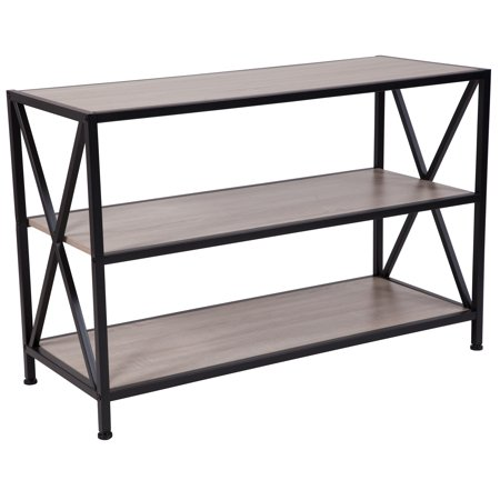 Flash Furniture Chelsea Collection Sonoma Oak Wood Grain Finish Bookshelf With Metal Frame
