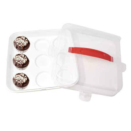 Cupcake Storage Carrier Party Serving Tray Box With Lock & Lift Snap Lid -Translucent Lid for Transporting Cupcakes, Cookies, Muffin or Other Desserts-Store up to 9 Cupcakes