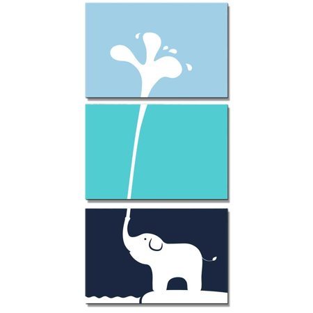 wall26 Canvas Wall Art - 3 Panel Cute Baby Elephant Blowing Water out of its Trunk | Nursery Decor Animal Artwork Prints for Boy/Girl's Room Decoration - 24