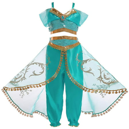 Princess Jasmine Red Halloween Costume (Girls Jasmine Princess Dress Up Costumes Girls T-Shirt Vest Tops Pants Sequin Halloween Cosplay Fancy Dress Outfit)