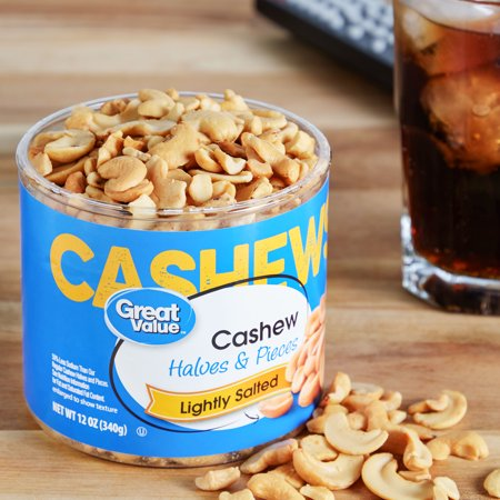 Great Value Lightly Salted Cashew Halves & Pieces, 12 oz - Best Nuts