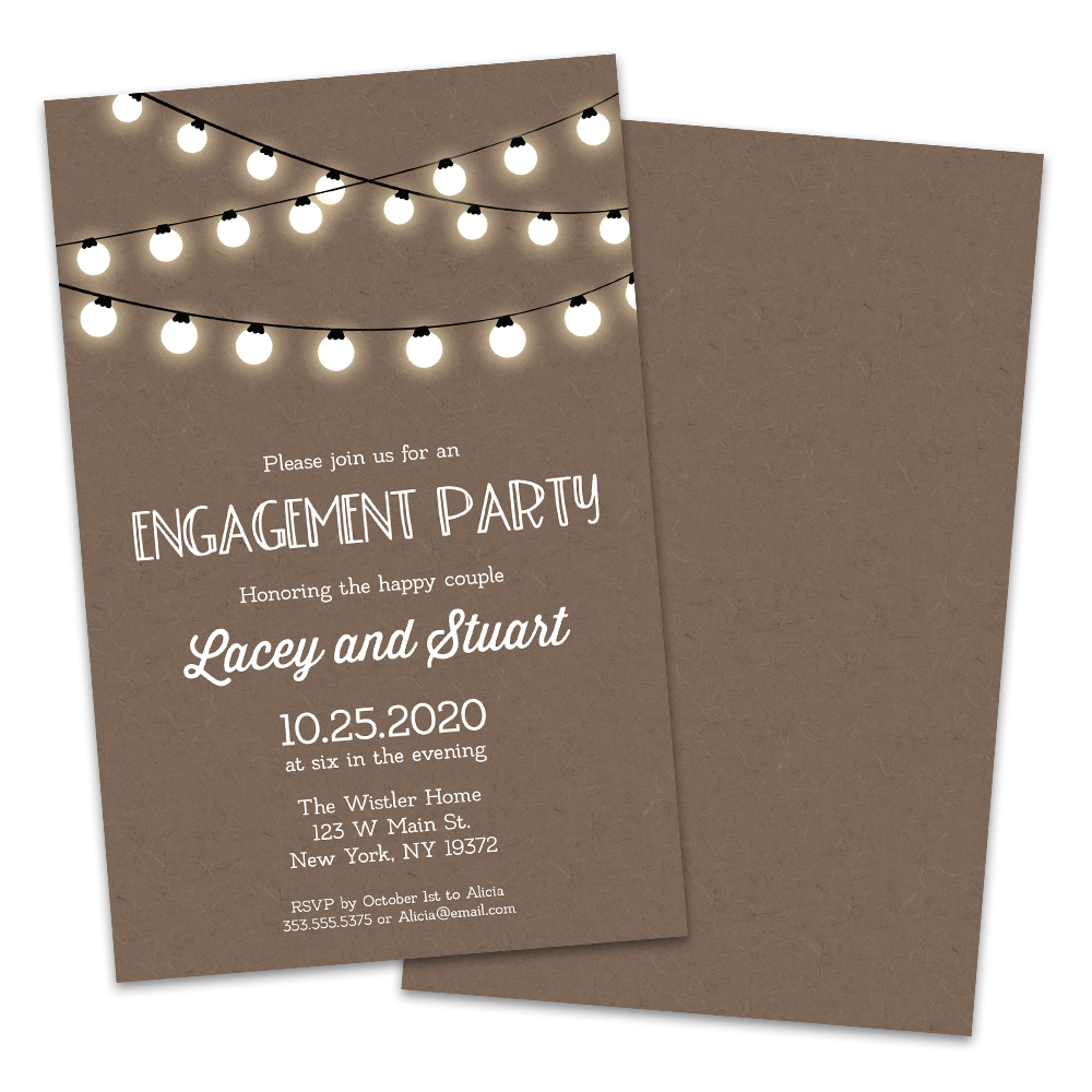 Personalized Light Strings Engagement Party Invitations