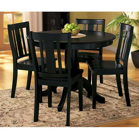 Home Trends 5pc Pedestal Dining Set Black